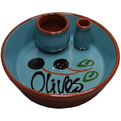 Naturally Med - Piattino per aperitivo in ceramica, colore celeste