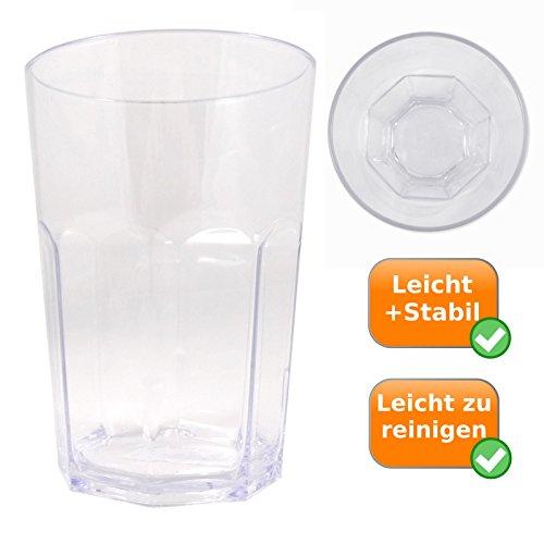 XL, Gobelet de verre solide pour 0,6liter Contenu Convient, idéal pour vos vacances Camping, la Festival Saison ou comme Cocktail Verre, Couleur : Transparent