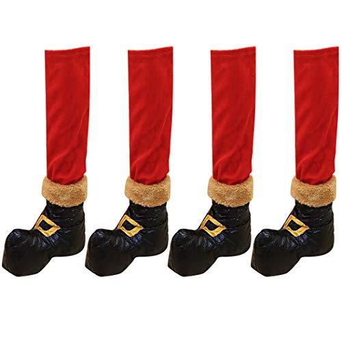 4PCS Calze per sedie di Natale Stivali da Babbo Natale Mobili Decorazioni natalizieDecorazione festa di Natale