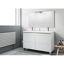 Modulintel - Conjunto De Baño 120 Push Blanco/Blanco - Mueble 120 Cm 4 Cajones Blanco , Espejo Sin Iluminación Y Lavabo Cerámica