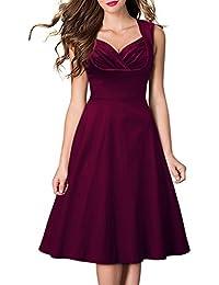 MIUSOL Damen Ärmellos Sommerkleid 1950er Retro Polka Dots Cocktailkleid Petticoat Faltenrock Kleid