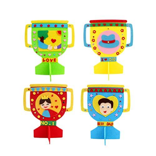 Amosfun Kinder Filz Basteln Kinder DIY Handwerk Pädagogisches Spielzeug Trophäe zum Vater 4 Pcs (Gemischtes Muster)