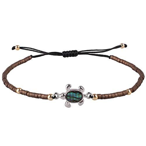 KELITCH Armbänder Damen Herren Japanische Import Perle Delikat Schildkröte Handgefertigt Einstellbare String Bangle Freundschaft Charme Armband für Pärchen Mädchen (Braun)
