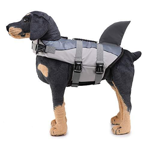 FIYOMET Shark Schwimmweste für Hunde JSY03 Grau Liefert Haustier Badeanzug Meerjungfrau Reflektierende Kleidung Whale