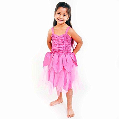 Blütenblatt Fee Kleid Mädchen - Pink - Märchen Kostüm Kinder Gr 104 (3-4 Jahre) - Lucy Locket