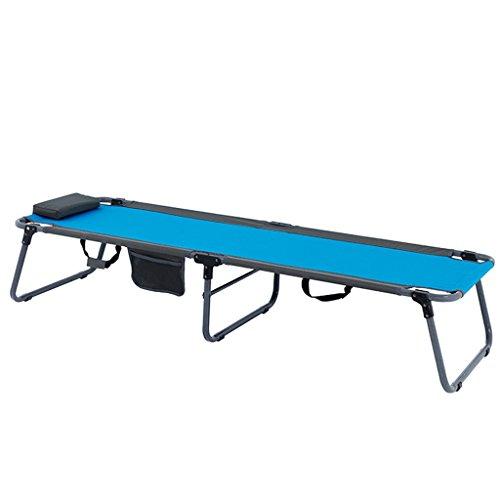 Blaues Klappbett Sun-Ruhesessel-Einzelbett-Bett-Lager-Bett-Büro-Siesta-Bett-Recliners-Klappstuhl-Krankenhaus-Bett-Leinwand-einfaches Bett mit justierbarem Kissen