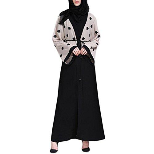 Amphia Langarm Kleid Tunika Abaya Dubai Kleider Frauen Stickerei Knöchellang Kleid Damen Abendkleid...