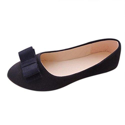 Klassische Damen Ballerinas Übergrößen Schuhe Elegante Slippers Flache Schuhe Party Schuhe Geschlossene Tanzschuhe Übergangsschuhe Freizeitschuhe LMMVP (39EU, Schwarz)