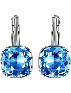 SIVERY 'Klassisch Rund' Damen Ohrringe mit blau Swarovski Elemente, damen schmuck