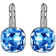 SIVERY Blue Lever Back Earrings Made with Swarovski Crystals, Jewellery for Women, Earrings for Womens, Gifts for Women