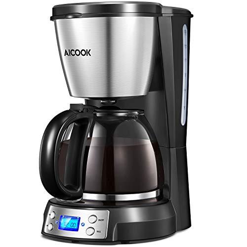 Aicook Programmierbarer Kaffeemaschine mit Timerfunktion, Filterkaffeemaschine mit Glaskann, Anti-Drip-Funktion, 10 tassen, LED-Anzeige, Dauerfilter, Schwarz (Kaffeemaschine Programmierbare)