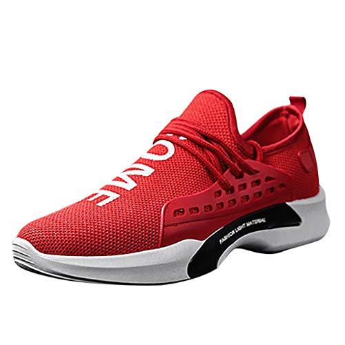 BHYDRY Bequeme Freizeit Mesh Beathing Athletic Sneakers für Herren und Damen(41,Rot) -