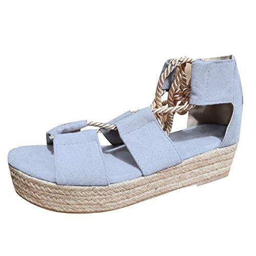 FNKDOR Schuhe Sandalen Damen Flacher Boden Peep-Toe Hanfseil Ghillie Sandals Ankle Strap Ankle Wrap Hanf Weben Dicker Boden Blau 40 EU -