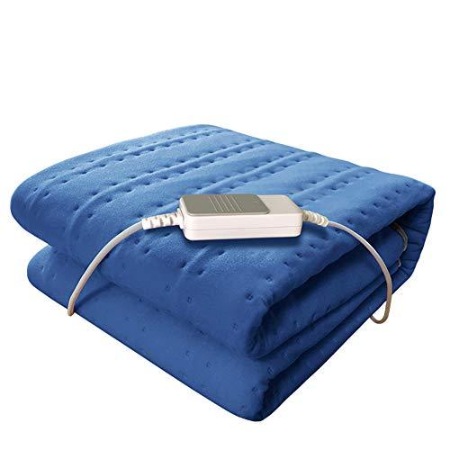 LIBINA -Heizdecke 3 Wärmespeicher-Konfigurationen Elektrische Heizkissen Automatisches Abschaltsteuerungen, Waschbare, Komfortable Wasserdichte Wraps, 150Cm × 75Cm,Blue