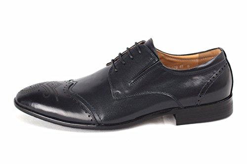 Hommes Chaussures Richelieu Cuir Robe Cérémonie Élégant Habillée Bureau À Lacets Décontracté Taille Bleu