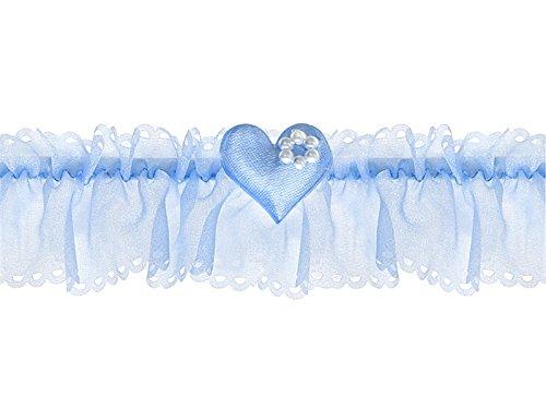 LoBeSo Strumpfband Chiffon in blau mit kleinem Herz und weißen Perlen für die Braut Hochzeit