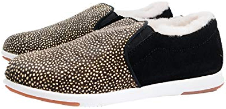 EMU Australia Brunswick Pelliccia da Donna scarpe da ginnastica – Nero Bianco – w11374 | moderno  | Maschio/Ragazze Scarpa