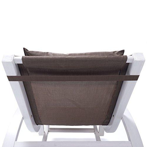 Relax Schaukelstuhl Rio   100% wetterfeste Gartenliege   Relaxliege mit Armlehnen   Gartenmöbel aus Holz weiß gestrichen   Stuhl Bespannung braun - 6