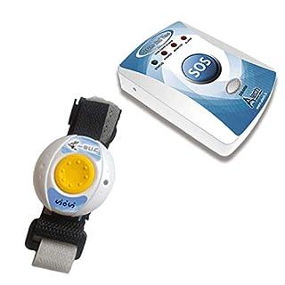 ALECH Sereno SoS: Hausnotruf über das Mobilfunknetz, Hausnotrufsystem mit Notrufknopf am Gerät und Funk-Notruf-Armband