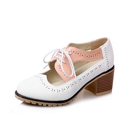 VogueZone009 Donna Luccichio Punta Tonda Tacco Medio Tirare Colore Assortito Ballet-Flats Bianco