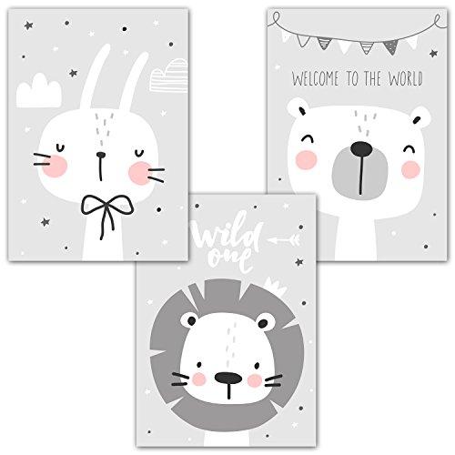 Frechdax 3er-Set Kinderzimmer Babyzimmer Poster DIN A4 ohne Bilderrahmen | Mädchen Junge | Kinderposter Kunstdruck im skandinavischen Stil | schwarz/weiss oder bunt | Set-01