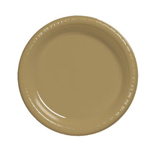 Touch of Color 50Zählen Kunststoff Lunch Teller, glitzernden Gold (Mardi Gras Tischdecken)