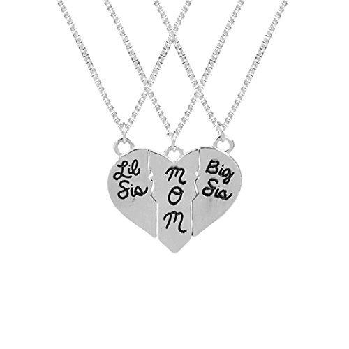 Big Sis, Mama, Lil Sis 3Stück Set Halskette, Drei Split Herz Halskette Set, Muttertag, Mutter Tochter - Mutter-töchter-halskette, Stück 3