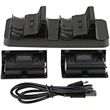 MagiDeal For Xbox One S Controller Battery Charging Dock Dual Charger Station With 2 Rechargeable Batteries And USB Cable For Xbox One S - Black