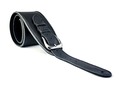 uk-made-vintage-extra-wide-soft-real-leather-guitar-strap-with-buckle-adjustable-length-black
