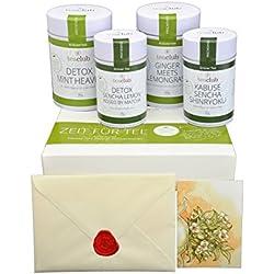 Premium Tee-Geschenkset / Tee-Geschenkbox BEAUTY & DETOX vier Premium Teesorten inkl. Grußkarte / Tee-Geschenke von TeaClub (4 x 50 Gramm Dose)