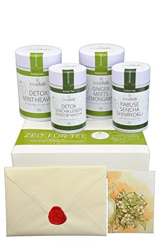Tee Geschenkbox Beauty & Detox, Teebox mit Tee als Geschenkset, 4x 50g Loser Tee inkl. Grußkarte, Geschenke für Frauen und Männer