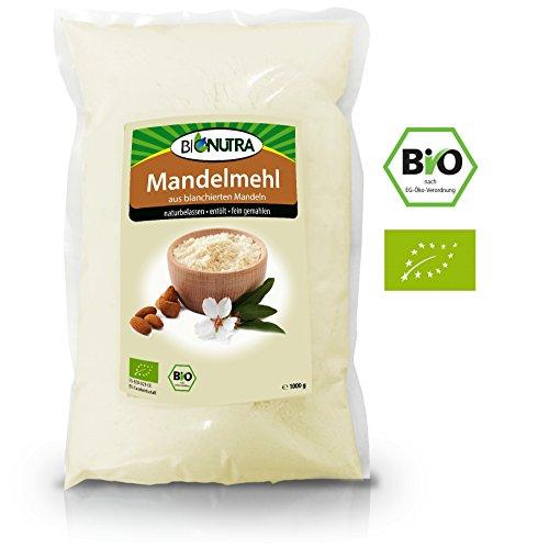 BioNutra Mandelmehl Bio 1000 g, entölt, fein gemahlen, blanchiert, glutenfrei, veganes Protein, low fat, kontrollierte Qualität aus Bio EU-Anbau