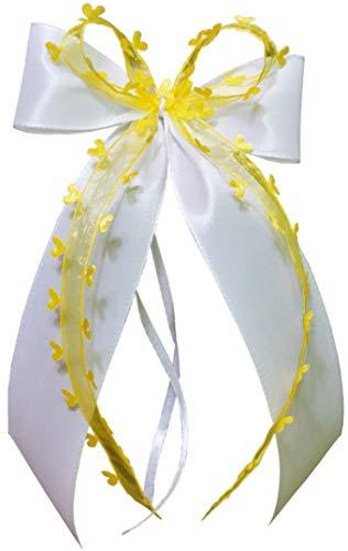 10 x Antennenschleife Autoschleife Autoschmuck Hochzeit weiss gelb SCH0100 (Hochzeit Gelbe Und Weiße)
