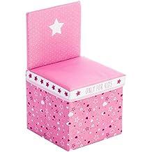 2 en 1: Conjunto de silla + Cofre de almacenamiento - Color Rosa