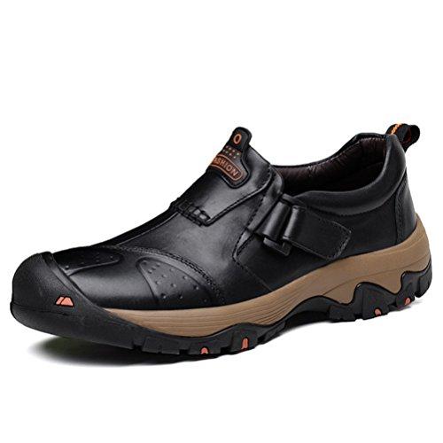 ailishabroy Herren Draussen Beiläufig Turnschuhe Männer Leder Niedrige Oberseite Schuhe (42 EU, Schwarz)