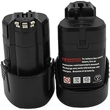 KINSUN 2-Pack Reemplazo Herramienta Eléctrica Batería 10.8V 1.5Ah Li-Ion Para Bosch Taladro Inalambrico Destornillador 2 607 336 013, 2 607 336 014, BAT411, BAT411A, BAT412A, GDR 10.8-LI, GMF 10.8 V-LI, GSR 10.8 V-LI2, GUS 10.8 V-LI y más