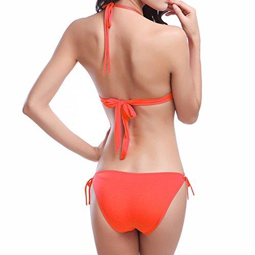 Meijunter Donna Bikini Set Raccogliere Insieme Reggiseno Costumi da bagno Spiaggia Bendare Costume da bagno Biancheria intima Orange