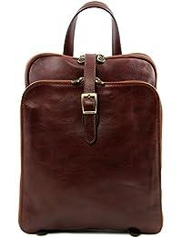 81412394 - TUSCANY LEATHER: TAIPEI - Sac à dos en cuir avec 3 compartiments, sac pour Ipad, marron