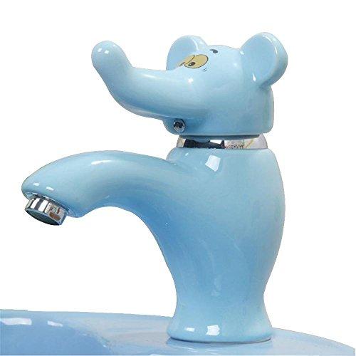 QJIAXING Grifos de Lavabo de Baño de Latón Moderno grifos de Lavabo de Elefante de Color, Azul
