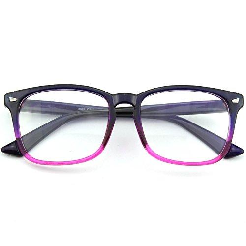 CN92 Klassische Nerdbrille rund Keyhole 40er 50er Jahre Pantobrille Vintage Look clear lens, A Blau, 53
