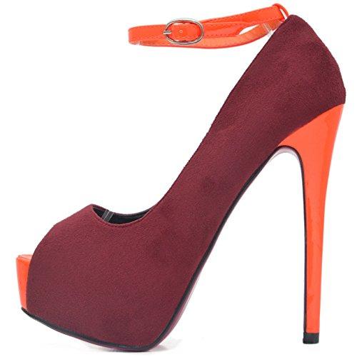 Vain Secrets ROSELIGHT Peep Toes mit Knöchel Strap in 4 Farben (39, Bordeaux) (Peep Toe Black Patent)