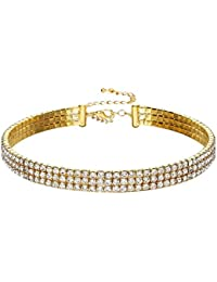 Crunchy Fashion Jewellery Modern Crystal Drop Statement Multilayer Choker Necklace for Girls/Women