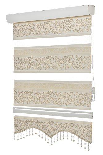 Doppelrollo Fensterdeko Sonnenschutz , 80cm - 200cm, (weitere Farben) (80, Zebra Jakar Gold)