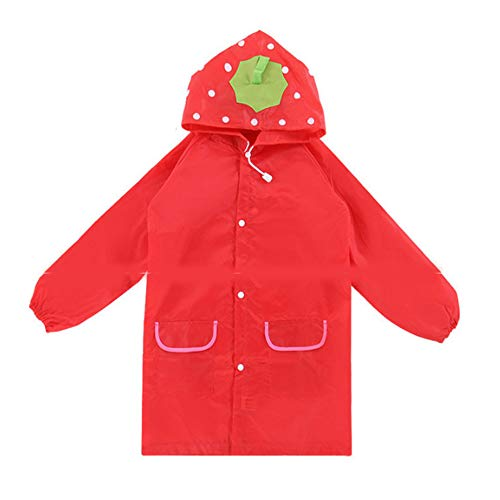 Children Raincoat - Hooded Waterproof Reusable Cute Cartoon Long Rain Poncho - Suitable for Boys/Girls Ages 5-12