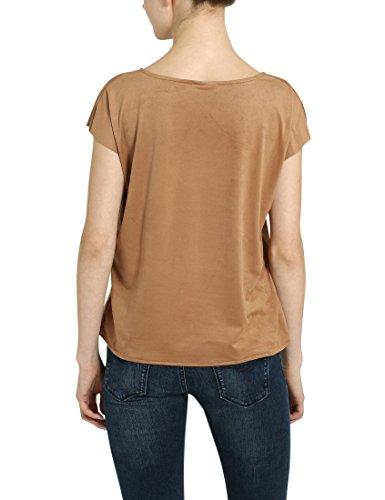 Berydale Women's V-Neck T-Shirt, suede Look, Beige ...