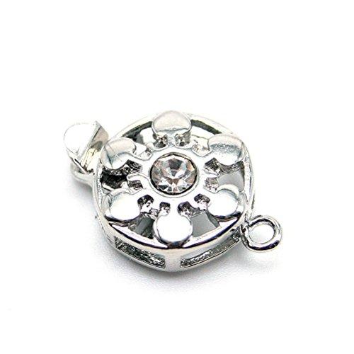 Beautiful Bead Pulsante 10Pcs Bracciale in lega di figura della collana del connettore Chiusura Fiore (Shiny Silver Beads)