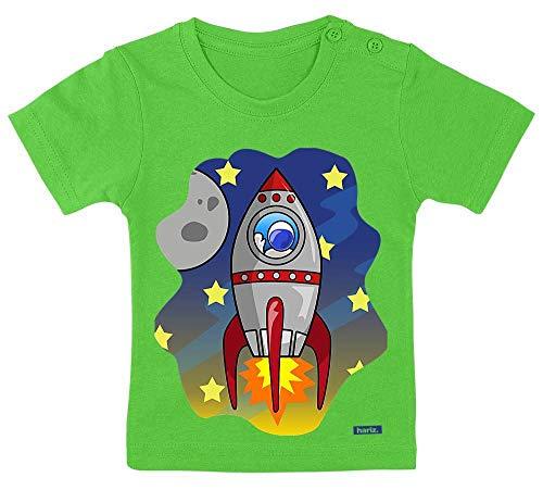 HARIZ Baby T-Shirt Rakete Im Weltall Astronaut Rakete Plus Geschenkkarten Schnödder Lime Grün 15-24 Monate / 80-92cm - Kleine Kinder Lime Bekleidung