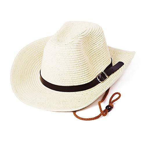 Herren Strohhut Hut Panama Sommer Fedora Trilby Stroh Sonnenhüte für Männer Safari Beach Hut - faltbar Sommerstrohhut auf dem Strand oder den Ferien ( Color : Milky white , Size : Free size ) White Beach Hut