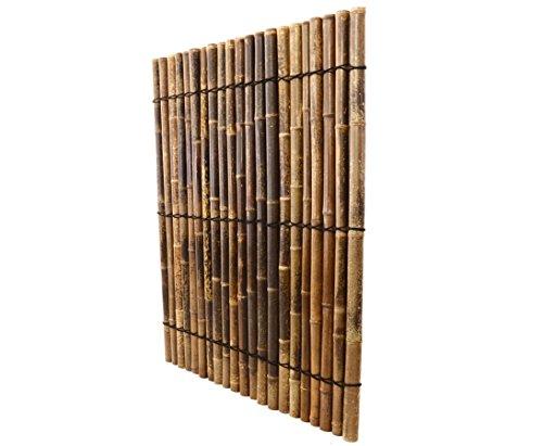 """Bambusrohr Zaun """"Apas11"""" schwarz- braun aus ganzen Bambusrohren 5 bis 6cm mit 150x120cm – Sichtschutzzaun Sichtschutzzäune Blickschutz aus Bambus Sichtschutzwand Sichtschutzwände Raumabtrennung"""