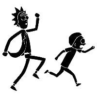 Hydz 2 Piezas 14 cm Negro/Blanco Rick y Morty Dibujos Animados Pegatina Abuelo Impermeable Anime Pegatina Coche Guitarra portátil calcomanía Juguetes, Blanco
